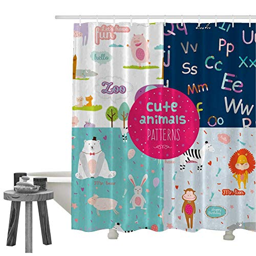 Used, Shower Curtain Set Cute Animal Party Bath Curtains for sale  Delivered anywhere in USA
