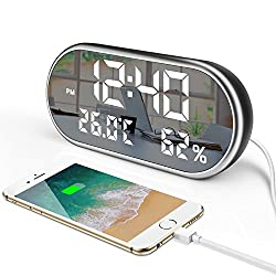 Digital Led Alarm Clock with USB Charger Port,6.5 Large Display Temperature and Humidity Dimmer Easy Set Three Alarms for Bedrooms,Outlet Powered