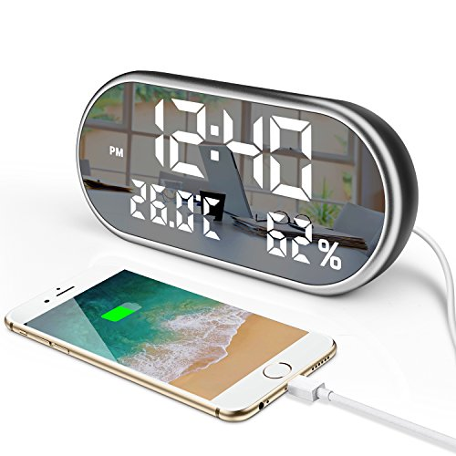 """Digital Led Alarm Clock with USB Charger Port,6.5"""" Large Display Temperature and Humidity Dimmer Easy Set Three Alarms for Bedrooms,Outlet Powered"""