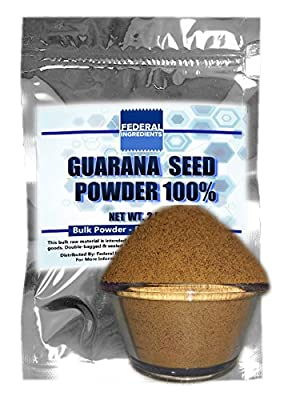 GUARANA SEED POWDER 100% - 2.5 Ounces (70 Grams) Lab Grade Sample - Made In The USA by Federal Ingredients in Buffalo, NY