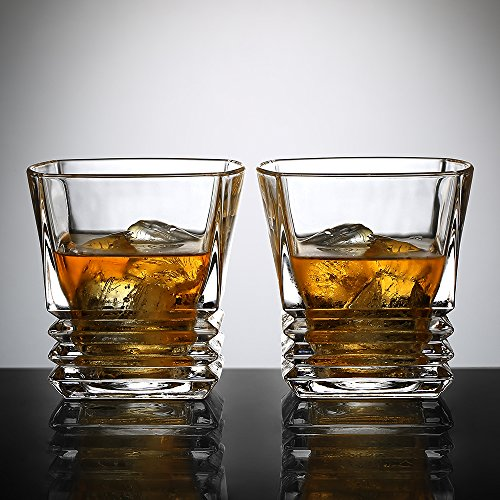 Ecooe 2x260ml Old Fashion Whiskey Glass Tumblers for Scotch, Bourbon and More