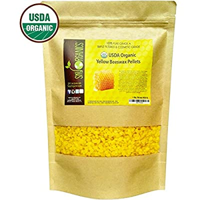 USDA Organic Yellow Beeswax Pellets by Sky Organics (1lb) -Superior Quality Pure Bees Wax No Toxic Pesticides or Chemicals - 3 x Filtered, Easy Melt Pastilles- For DIY, Candles, Skin Care, Lip Balm by Sky Organics
