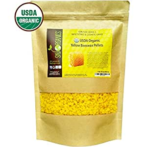 USDA Organic Yellow Beeswax Pellets by Sky Organics (1lb) -Superior Quality Pure Bees Wax No Toxic Pesticides or Chemicals - 3 x Filtered, Easy Melt Pastilles- For DIY, Candles, Skin Care, Lip Balm