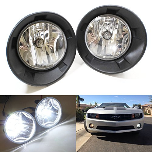 iJDMTOY Complete Set Fog Lights Foglamps w/ Xenon White 5202 High Power LED Bulbs For 2010-2013 Chevy Camaro LS LT (For Camaro w/ Halogen Headlamps Trims Only)