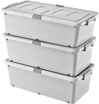 Caja de Almacenamiento de Madera Maciza Caja de Almacenamiento, 3 Pack Cama Caja de Almacenamiento Inferior Caja de Almacenamiento de plástico Ropa de Cama edredón Caja de Almacenamiento Caja de Alma: Amazon.es: