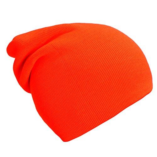 moderno de gorro y suave Naranja diseño slouch invierno Neón gorro clásico beanie DonDon abrigo de vRPqwB5d