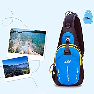 Shoulder Backpack,Portable Multi-functional Waterproof Unisex Outdoor Sports Chest Pack Bum Bag Sling Bag Hiking Daypacks Adjustable Strap Shoulder Backpack Cross Body Bag Blue
