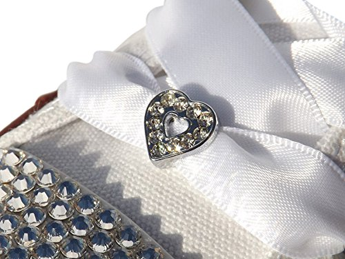Charm White Satin Shoe (A Pair of Women's Stunning Crystal Heart Shoe Charms with a FREE Pair of Our White Satin Ribbon Laces)