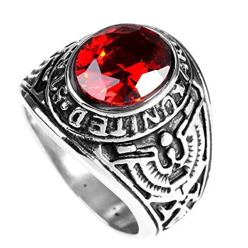 LOPEZ KENT Vintage Mens Stainless Steel Eagle US Army Ring with Red Oval CZ Stone,Size 11 (Army Military Ring)