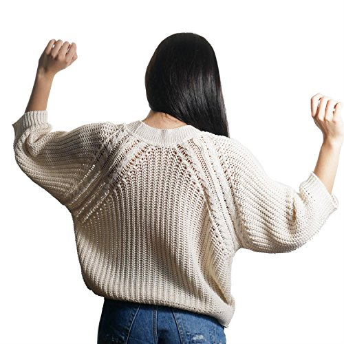 JUANA LA LOCA AND THE VICTORIANS - Mujeres de Manga Larga Cuello Redondo Suéteres Perlado jersey Prendas de Punto Tricot Casual Basico CRUDO