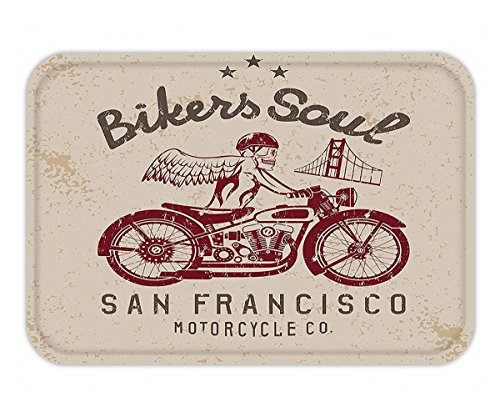 Minicoso Doormat Retro Bikers Soul San Francisco Emblem with Skull Wings Riding Motorcycle Dead Illustration Beige - San Francisco Versace