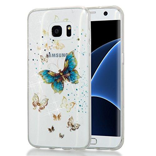 ihreesy Samsung S7 edge Case,Galaxy S7 edge Case, Luxury Glitter Sparkle Bling Designer Case [Slim Fit,TPU Cover] Shining Fashion Style for Samsung Galaxy S7 edge,Gold ()