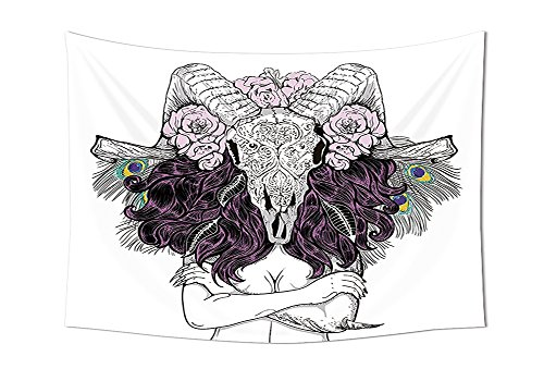 Skull Decorations Tapestry Tribal Lady with Horned Goat Head and Peacock Feather Mystic Voodoo Pattern Wall Hanging for Bedroom Living Room Dorm (Halloween By The Name Iron Maiden)