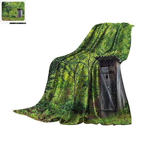 Taggies Sleeper (Outhouse Warm Microfiber All Season Blanket Old Ancient Cottage Outhouse in a Spring Mountian Forest Woods Image Summer Quilt Comforter 50