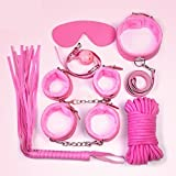 Jiamusi JMS Sex Rope Fuzzy Handcuffs Whip Suit Bondage SM Game Flirting Adult Toy Set Pink 7PCs
