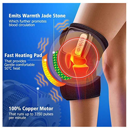 ErYao Electric Heated Massage Knee Brace Wrap for Men Women, Adjustable Heated and Massage Knee Heating Pad Thermal Heat Vibration Therapy Wrap for Arthritis Pain Relief Injury Recovery (Black) (Electrical Shoulder Heating Pad)
