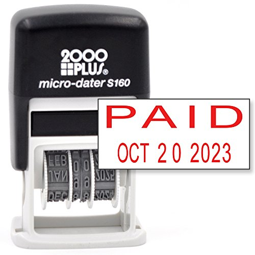Cosco 2000 PLUS Self-Inking Rubber Date Office Stamp with PAID Phrase & Date - RED INK (Micro-Dater 160), 12-Year Band