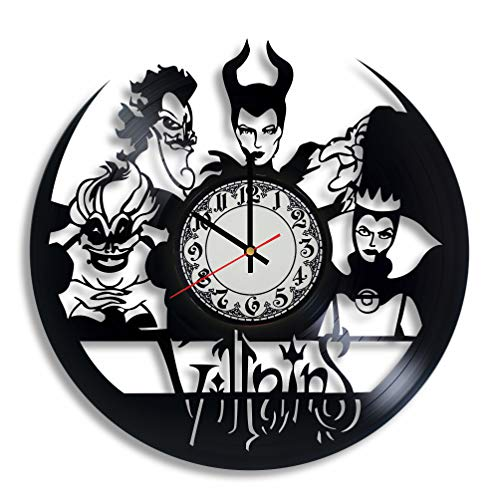 Lepri4ok Villains Handmade Wall Clock, Maleficent,Ursula, Sleeping Beauty, Snow White, Evil Queen, Disney, Cruella de vil, The Little -