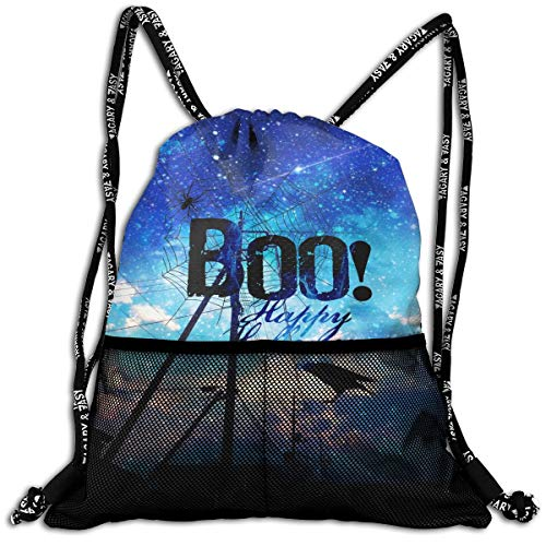 Boo Happy Halloween Free Printable Drawstring Backpack Bags Sport Gym Treat Bag ()