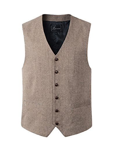 Mens Wool Blend Tweed Herringbone Waistcoat Vest (XL, - Coat Tweed Herringbone