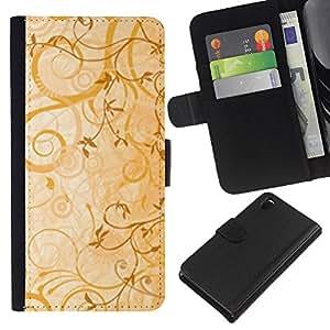 KLONGSHOP // Tirón de la caja Cartera de cuero con ranuras para tarjetas - cvety vetochki uzory ornamenty - Sony Xperia Z3 D6603 //