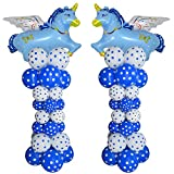 """Balloon Arch. Cute Blue Flying Unicorn Arch Kit 2 Sets 80"""" Height with 64Pcs Latex Balloon"""