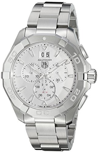 TAG Heuer Men's 'Aquaracer' Swiss Quartz Stainless Steel Dress Watch, Color:Silver-Toned (Model: CAY1111.BA0927) ()