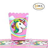 popcorn and candy holder - Hangnuo 24 PCS Unicorn Party Popcorn Cups for Kids Birthday Party Favors