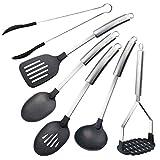 Berndes Stainless and Nylon Tool 6 Pc. Set: Spatula, Spoon, Skimmer, Ladle, Steak Tongs, Potato Masher