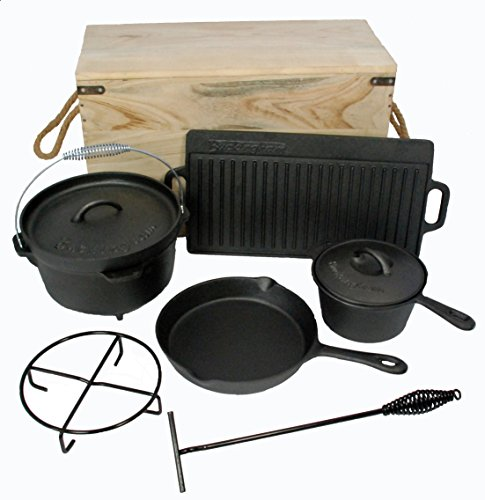 Buckingham Pre-Seasoned Cast Iron 7 Piece Deluxe Cookware Set, Black,