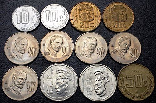 Unbranded LOT OF 12X MEXICO 10, 20, 50 CENTAVOS COINS VARIOUS DATES