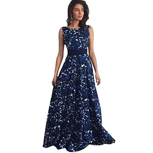 Vestido Amlaiworld Mujeres Floral largo formal vestido de fiesta vestido de noche Azul