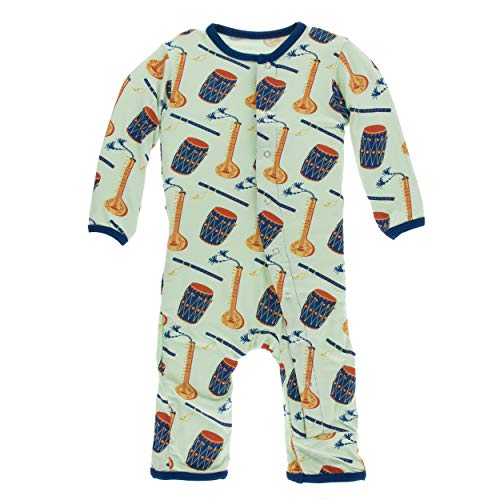(Kickee Pants Little Boys Print Coverall with Snaps - Pistachio Indian Instruments, 18-24 Months)