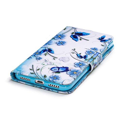 Funda para Xiaomi Redmi 5 Plus , IJIA Hermoso Orquídea Mariposa TPU + PU Cuero Ranuras para Tarjetas de Crédito Flip Caja [Estilo Libro,Soporte Plegable ] Cover Tapa Caso Parachoques Carcasa Cubierta