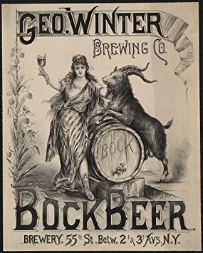 (Photo: Geo Winter Brewing Company, Bock Beer, NY, billy goat, 1900 . Size: 8x10 (approximately))