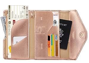 Zoppen Mulit-Purpose RFID Blocking Travel Passport Wallet (Ver.4) Tri-fold Document Organizer Holder, 5 Rose Gold