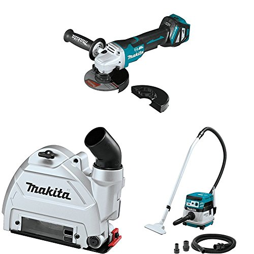 "Makita XAG21ZU 18V LXT Brushless 4-1/2""/5 inch Paddle Switch Cut-Off/Angle Grinder, AWS, 5 inch Dust Extraction Tuck Point Guard, XCV08Z X2 (36V) Brushless 2.1-Gal HEPA Filter Dry Dust Extractor/Vacuum, AWS"