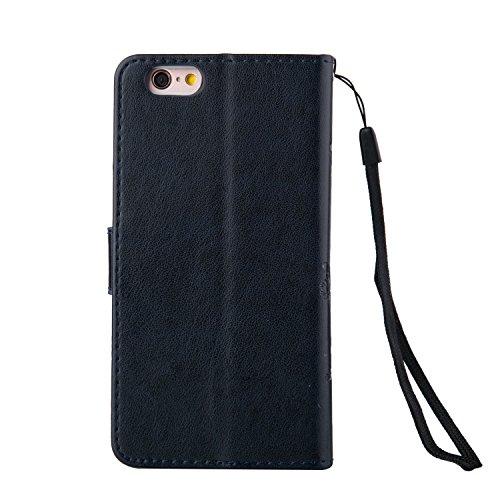 ZeWoo Folio Ledertasche - LD106 / dunkelblau - für Apple iPhone 6 (4.7 Zoll) PU Leder Tasche Brieftasche Case Cover