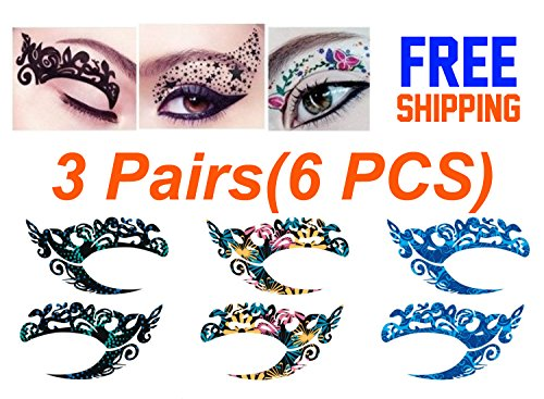 Temporary Eye Tattoo 3 Pairs(6PCS) Different Models -Transfer Eyeshadow and Eyeliner Stickers (Last Minute Halloween Makeup Eyeliner)