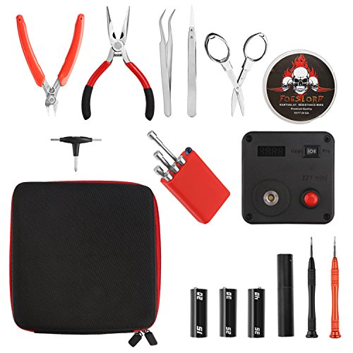 New Version Coil Building Tool Kit Home DIY Tool Set, 13 Pieces General Household Toolkit Repair Tool Set 6 in 1 Coil Jig for Home Maintenance Jewelry Industrial Repairs with Toolbox Storage Case - vapecentral.us