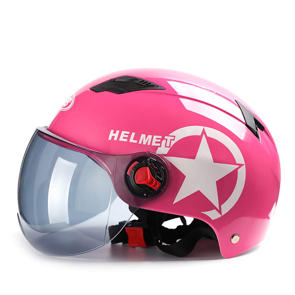 TKer Adults Men & Women Open Face Helmet with Detachable Goggles Sun Visor for Motorcycle Scooter Baseball, Universal Size Breathable Jet Half Helmet DOT Approved, Pink(54-62cm),A by TKer