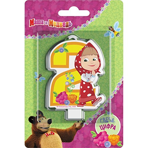 Сandle on a Cake Topper 2 years Birthday Masha and the Bear Must Have Accessories for the Party supplies and Birthday Masha y el Oso para niños -