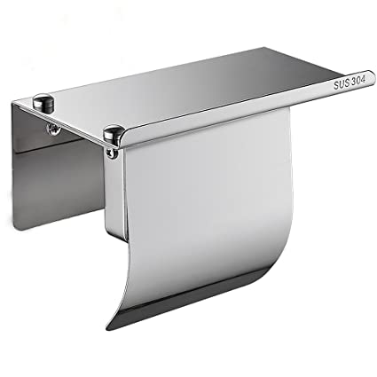 Portarrollos de papel higiénico sin perforaciones con tapa SUS304 de acero inoxidable dispensador de toallas con ...