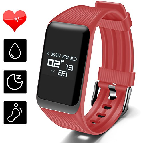 Fitness Tracker, MOCRUX Smart Band Activity Tracker with Heart Rate Monitor, Water Resistant Smart Bracelet Sport Tracker Calorie Counter Pedometer Sleep Monitor for Android/iOS for Women (Balance Pedometer)