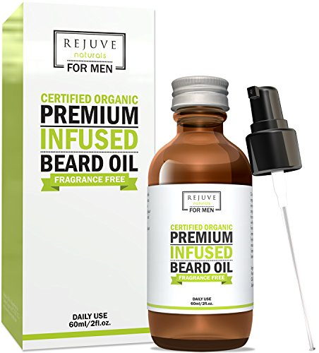 Certified Organic Beard Oil with Argan, Jojoba & Fractionated Coconut Oil by RejuveNaturals, 2 oz | For a Long, Thick Beard and Healthy Growth | Unscented