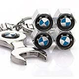 MYLMSM Set of 4 Tire valve stems Caps with Wrench Keychain For BMW