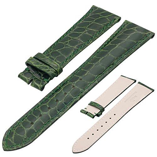 ZLIMSN Crocodile Alligator Watchband Leather Circle Pattern (Green Crocodile Leather Watch)
