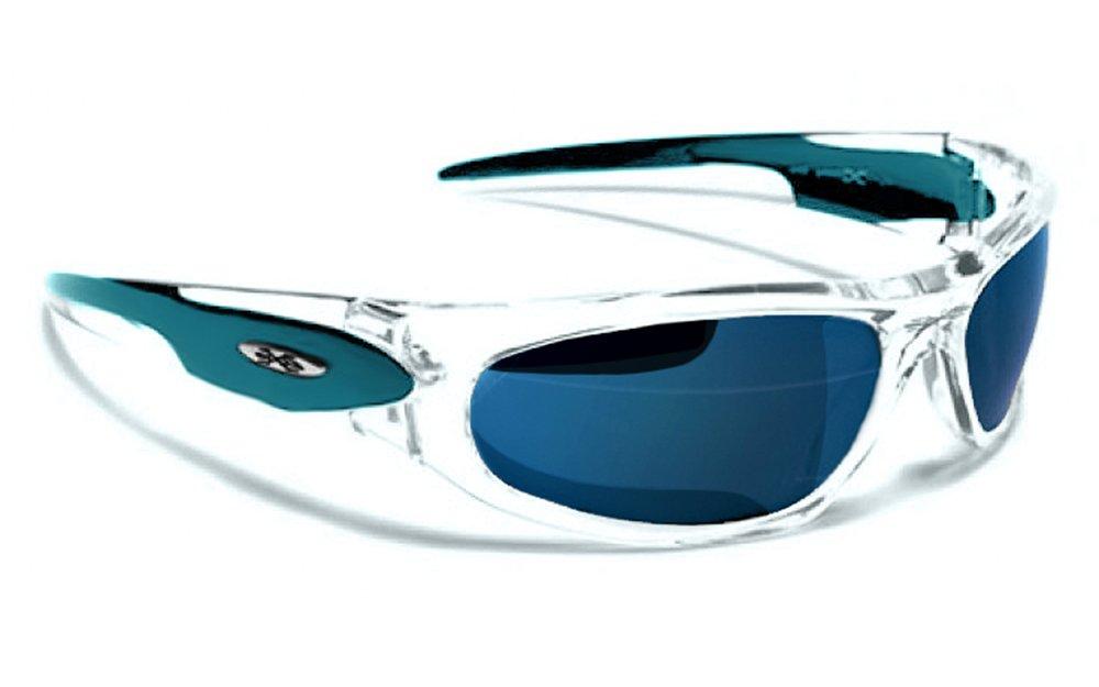 Occhiali da Sole X-Loop - Sport - Ciclismo - Sci - Mtb - Moto - Running / Mod. 012P Turchese Traslucido Ice Blu Iridium Specchio Xloop
