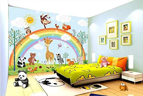 jiahuade-3d Wallpaper Mural Hand Drawn Cartoon Animal Rainbow Children Room Background Wall Furniture decoration-400cmX280cm