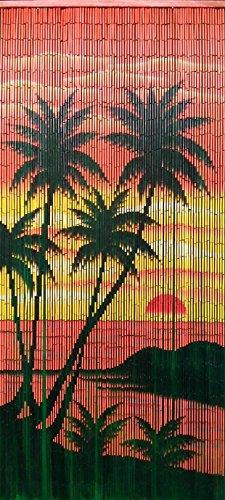 Bamboo 54 Caribbean Palms Curtain, Red (Diamond Bead Frame)